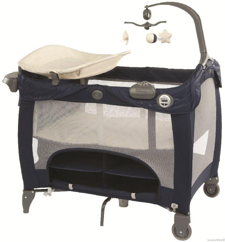 graco contour prestige reisebett wickeltisch spielbogen musik blau l3 fm6546 ebay. Black Bedroom Furniture Sets. Home Design Ideas