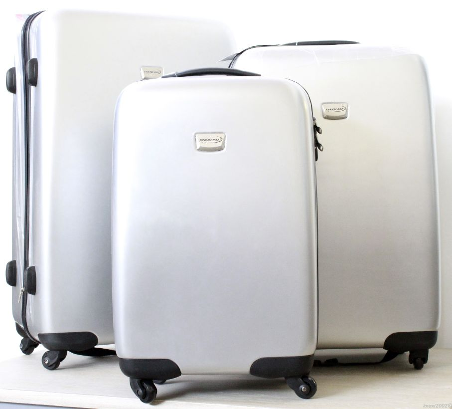 travel one casma 3 teiliges trolley set silber koffer polycarbonat oi9390 ebay. Black Bedroom Furniture Sets. Home Design Ideas