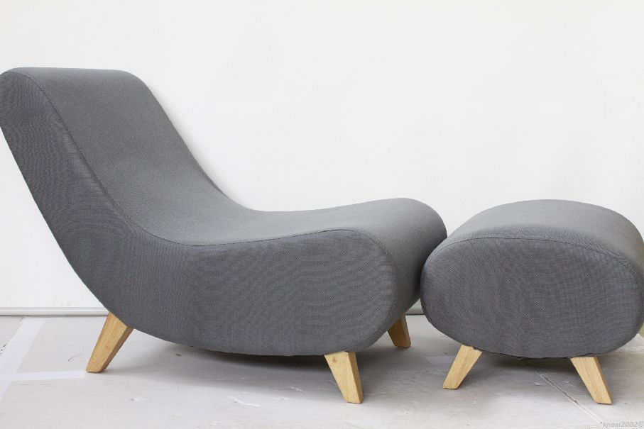 designer sessel hocker chaiselongue zenna oslo loungechair footstool grau kv4894 ebay. Black Bedroom Furniture Sets. Home Design Ideas
