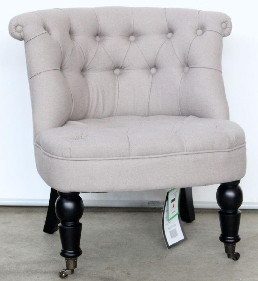 pomp ser safavieh sessel vorn auf rollen leinen grau gesteppt stuhl chair no0974 ebay. Black Bedroom Furniture Sets. Home Design Ideas