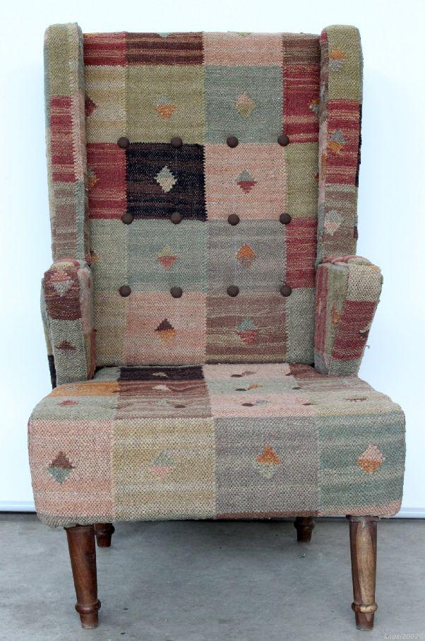 bunter patchwork sessel grober ohrensessel stuhl relax. Black Bedroom Furniture Sets. Home Design Ideas