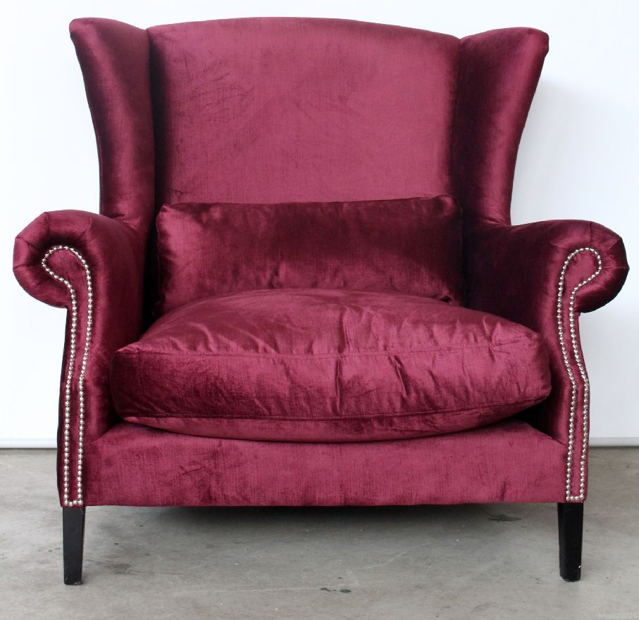 big xxl sessel ohrensessel samt bordeaux relax rot armchair sofa chair kw3264 ebay. Black Bedroom Furniture Sets. Home Design Ideas
