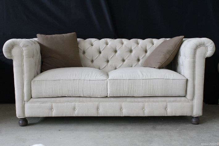 pomp ses chesterfield sofa inkl kissen couch leinen stoff creme esr1001 nt1293 ebay. Black Bedroom Furniture Sets. Home Design Ideas