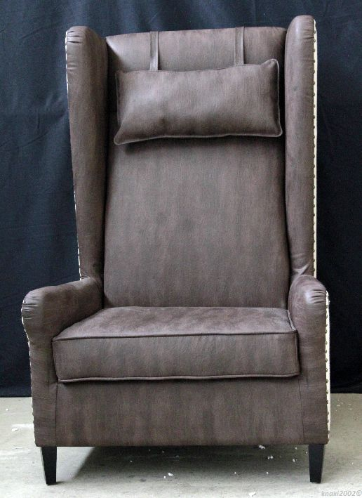 gro er sessel leder stoff mix ohrensessel stuhl relax armchair chair mp3212 ebay. Black Bedroom Furniture Sets. Home Design Ideas
