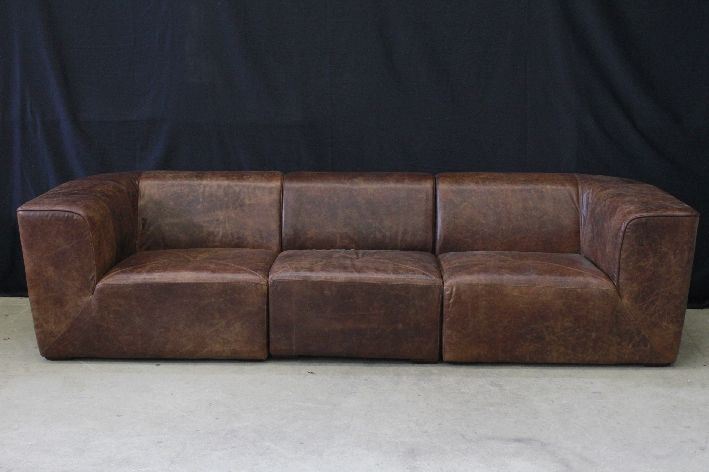 xxl braunes ledersofa 285cm leder sofa vintage used look couch canape ku1826 ebay. Black Bedroom Furniture Sets. Home Design Ideas